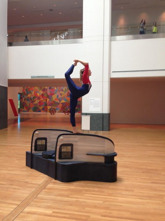 Performer Sadie Wilhelmi rehearsing Allora & Calzadilla's Body In Flight (Delta)