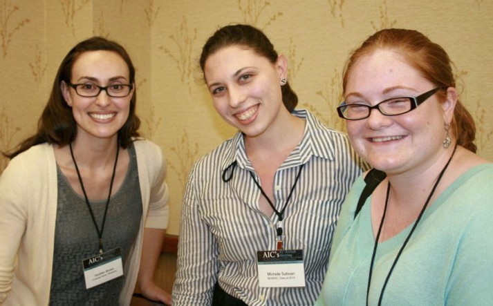 Heather with fellow emerging conservators Michelle Sullivan and Hannah Mancill in Indianapolis. Photo Credit: AIC