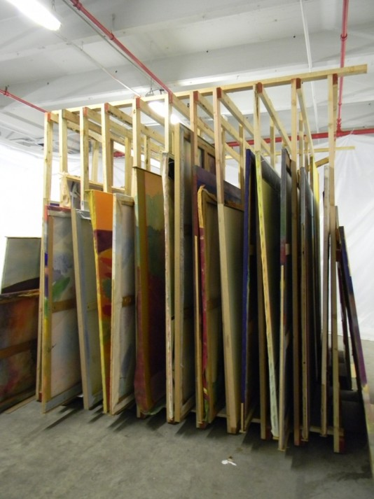 Paintings drying on racks at the Cultural recovery Center in Brooklyn – December 2012