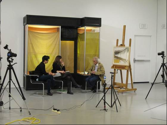 "Christo discussing ""Store Front"" (1964) and ""Running Fence"" (1975) with Melissa Ho and Gwynne Ryan."