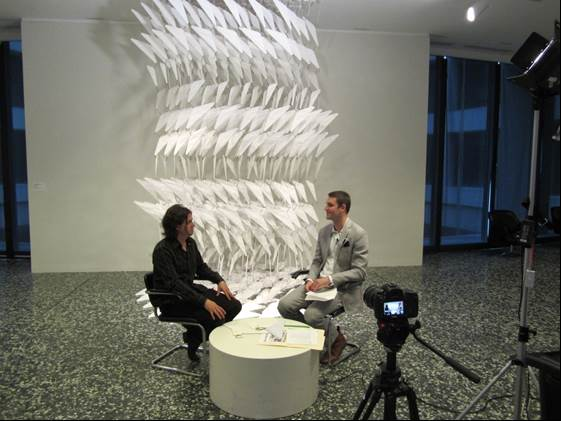 """Dan Steinhilber and Steven O'Banion discussing """"Untitled"""" (2002)."""