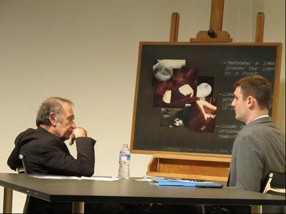 """Vito Acconci and Steven O'Banion discussing """"Combination (Six-Hour Performance; 112 Greene Street, New York; June 5, 1971)."""""""