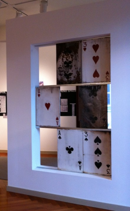 The original, vandalized cards from the face of Way Station I (Study Chamber), now on view in the Middlebury College Museum of Art