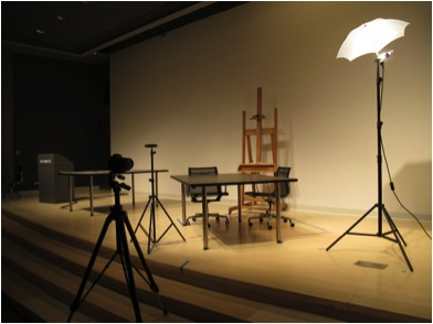 Equipment staging for 2012 interview between Vito Acconci and Steven O'Banion. Photo by Nick Kaplan