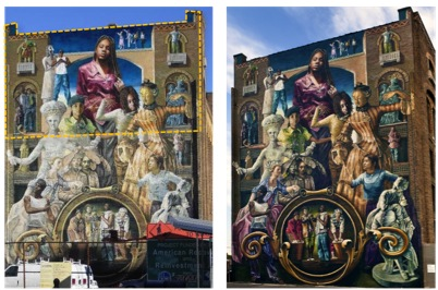 """Meg Saligman, """"Common Threads"""" (1997, Philadelphia)  Left: """"Common Threads"""" as it appeared mid-restoration in November 2010, with resaturation coating applied to the area within the yellow box.  Right: The mural as it appeared in 2011 after restoration."""