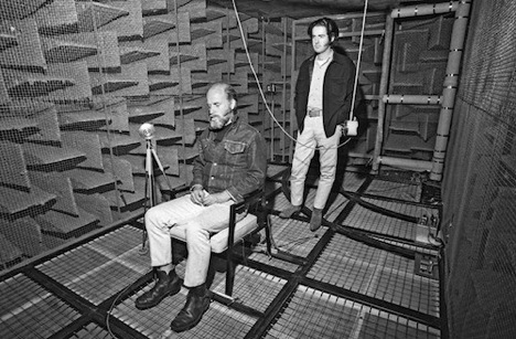 James Turrell and Robert Irwin in the anechoic chamber during their collaboration with Garrett Corporation. Courtesy Los Angeles County Museum of Art.