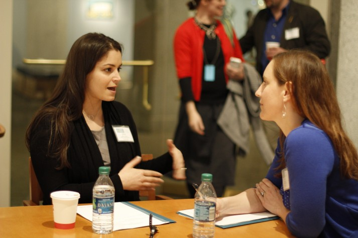 Workshop participants engaging in mock interviews to practice their newly learned skills. Photo by Mary Tait. Courtesy of the Smithsonian American Art Museum.