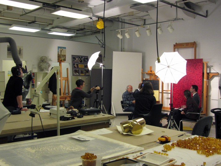 The interview set up in the Hirshhorn conservation studio. From left: Nick Kaplan, Caitlin Richeson, Robin Rose, Cathy Carver, Susan Lake, and Steven O'Banion.