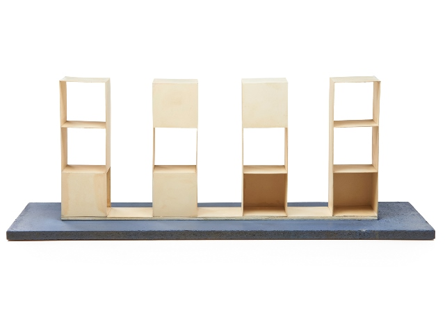 """Sol LeWitt (American, 1928-2007) Two works of art: Set 223 (4-3 part pieces with 2 adjacent open cubes and a closed cube), 1967 Painted wood Signed, dated and titled 12 1/4"""" x 27 3/4"""" x 4"""" Sale Price: $62,500 Photo courtesy of Rago Arts and Auction Center"""