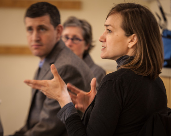 Workshop presenters Gwynne Ryan, Jess Rigelhaupt, & Julie McGee engage in group discussion