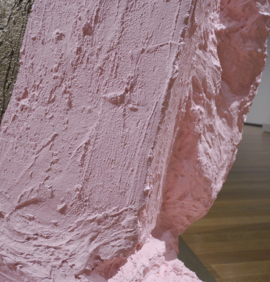 Hans Haacke with Sculpture, 2005 (Detail showing rag over the corner of the form)