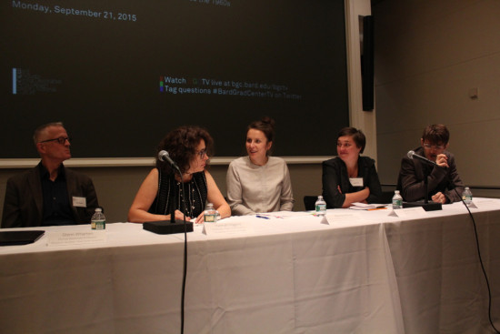 The panel discussion. From left to right: Glenn Wharton, Hannah Higgins, Hanna Hölling, Sarah Cook, Andrew V. Uroskie.