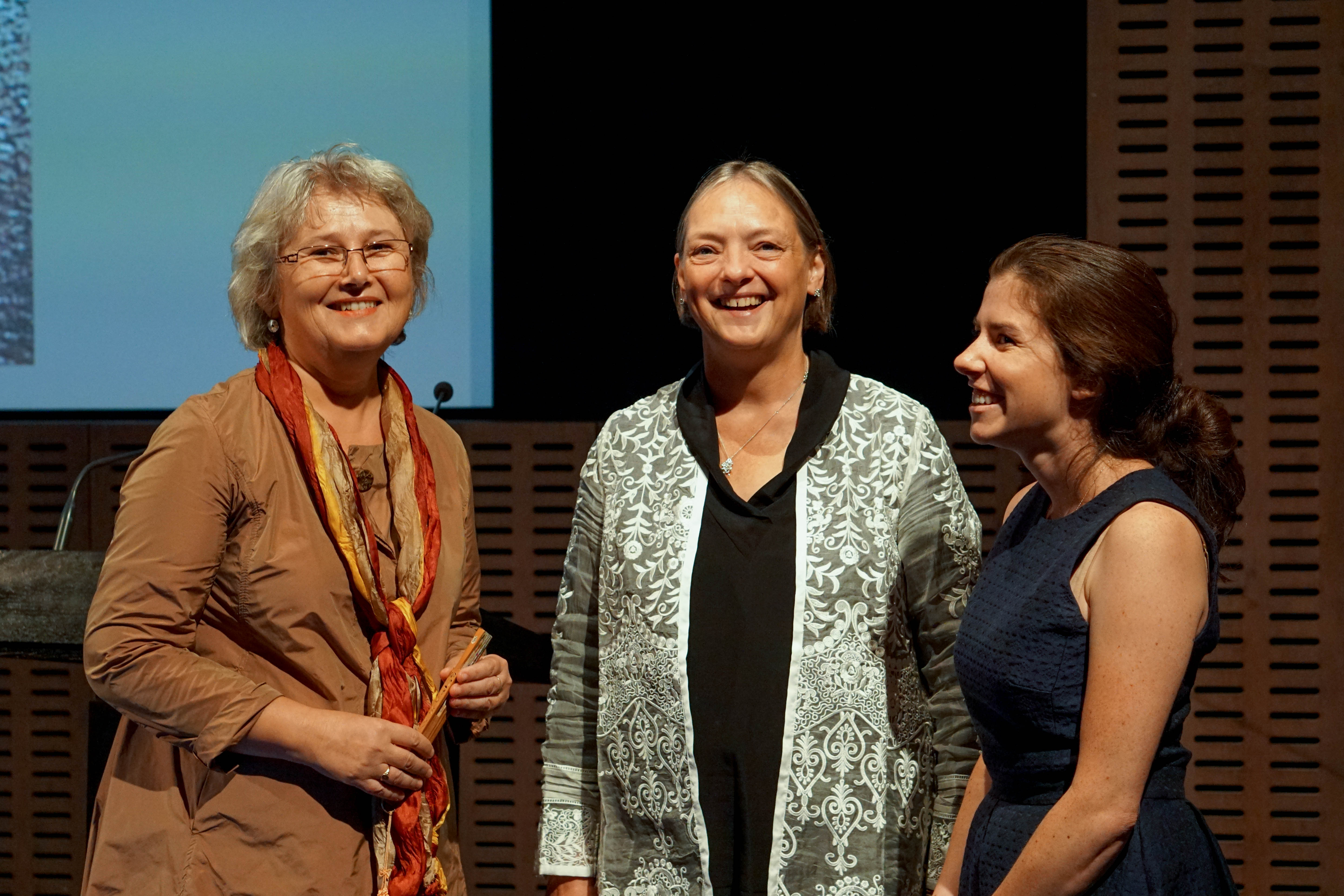 Pip Laurenson, Phoebe Boosalis, and Hannelore Roemich talk before the lecture. Image credit line: Nita Lee Roberts, the Institute of Fine Arts, NYU