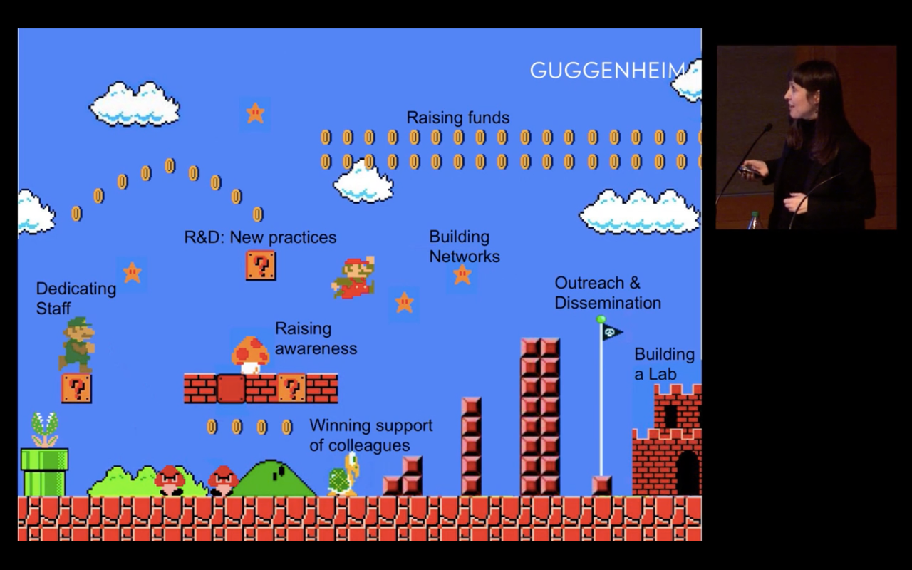 A screenshot of the video game Super Mario Bros and a photograph of a woman presenting