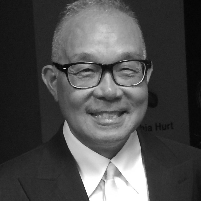 A black and white photo of Arlan Huang