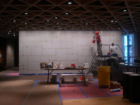 Sol LeWitt's Wall Drawing #614, 1989 being installed at the Yale University Art Gallery, New Haven, CT, in 2006.