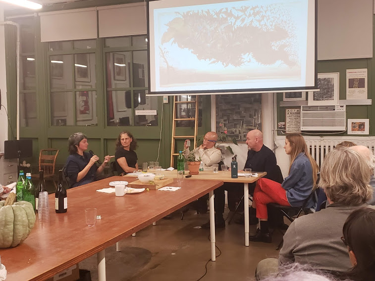 Artists Mira Friedlaender, moderators Jennifer Gross and Phong Bui and artists Sara Cwynar and Walton Ford in discussion at the Brooklyn Rail.