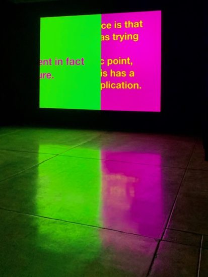 Tony Cokes's artwork, Untitled (m.j.: the symptom), is a neon green and pink screen with bold text, which is reflected by the sheen of the floor.