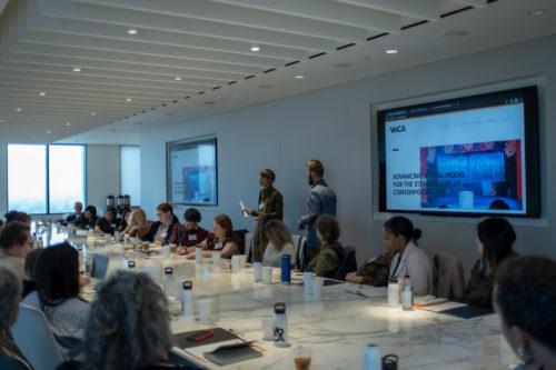 Jen Mergel and Sam Redman speak to participants at VoCA's Artist Interview Workshop held at LACMA in 2020