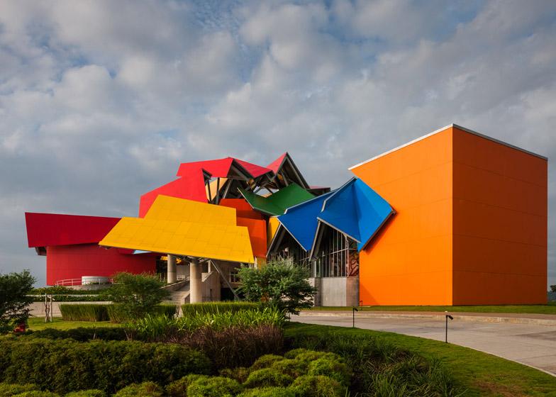 View of the colorful facade of the Biomuseo in Panama