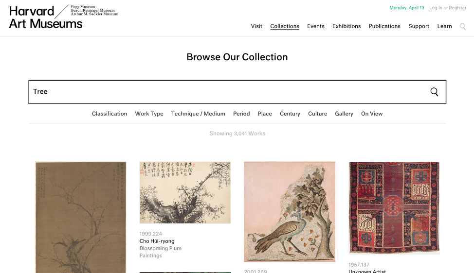 "Screenshot of Harvard Art Museums's website, with the search results for ""tree"""