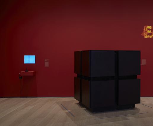 Installation view of Yar's Revenge alongside the CM2 supercomputer.