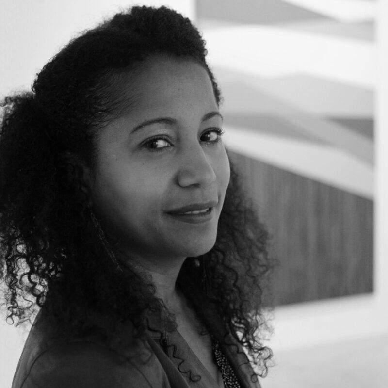 A headshot photo of artist Dell Marie Hamilton